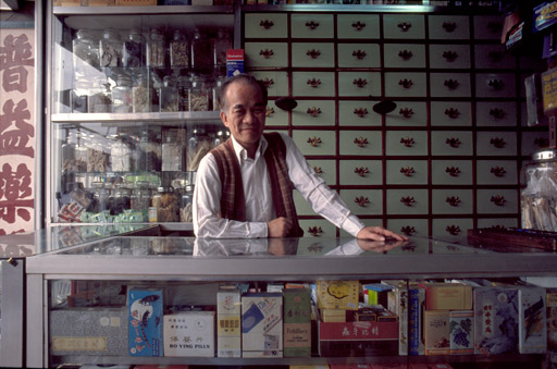 Chan Pui Yin, owner of a pharmacy and traditional Chinese medicine store of Lung Chun road