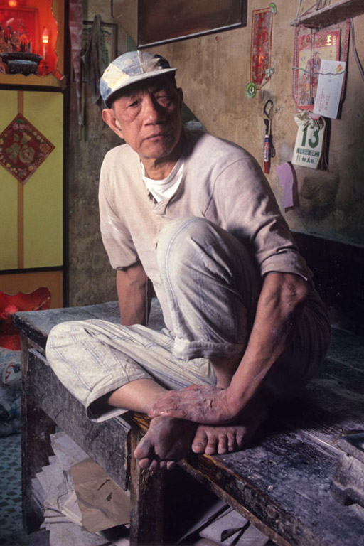 Chan Wai Shui, owner of a traditional noodle making factory