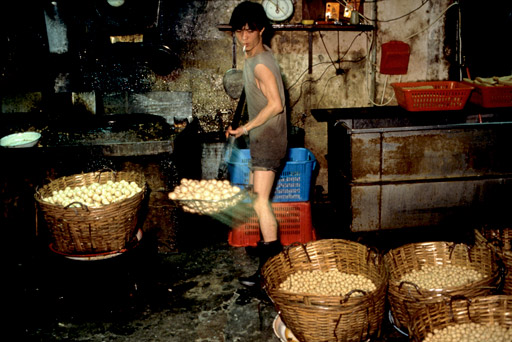 Kwok Tsang Ming, a worker in a fishball-making factory
